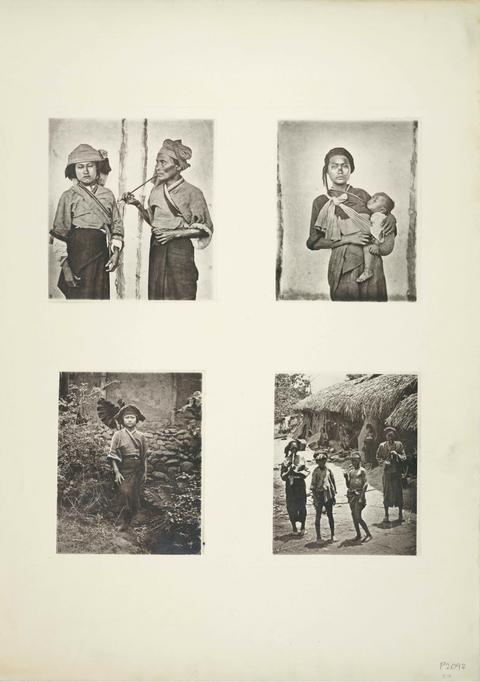 典藏圖片 - (左上) 平埔族人,木柵(台南新市區), (右上) 背小孩的平埔族,木柵, (左下) 著平埔族衣服的婦女,木柵, (右下) 六龜的平埔族
